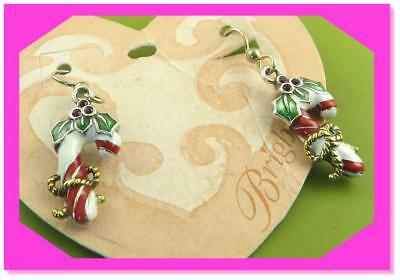 Genuine Brighton JE4242 Candy Cane French Wire Christmas Holiday Earrings NEW