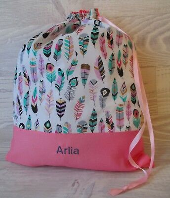 *Feathers* X-STRONG PERSONALISED LIBRARY BAG KINDY DRAWSTRING EMBROIDERED NAME