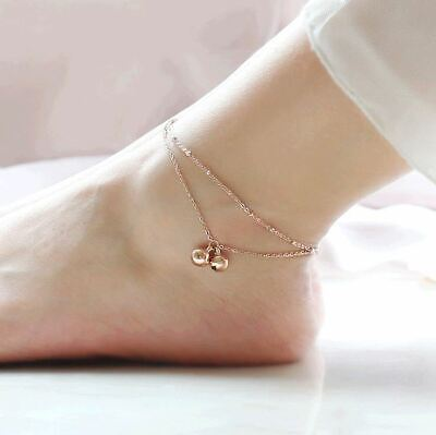 Ladies Girls Double Layer Beaded Bell Anklet Ankle Bracelet Chain Gold Coloured