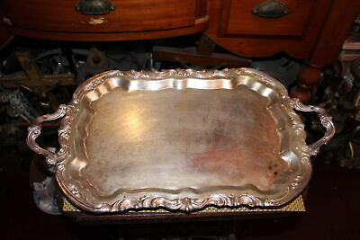 Large Antique Silver Metal Serving Platter Tray Scrolls Footed Victorian Style