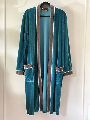GIVONI vintage mens size 18 dressing gown Green & brown velour robe duster