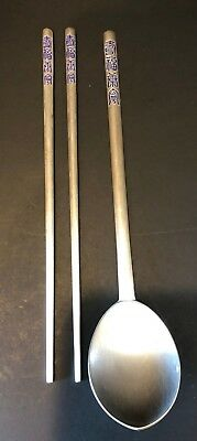 Vintage Silver Blue Pattern Rice Spoon & Chop Sticks - Marked AG800 Silver