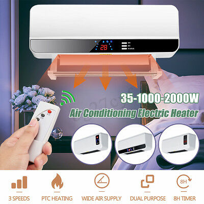 2000W Wall-Mounted Split System Heater Air Conditioning Warming&Cooling Remote