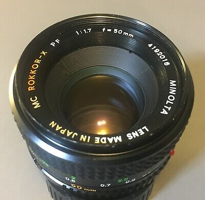 Minolta MC Rokkor-X PF 50mm f1.7 lens, Excellent condition, Minolta MD mount