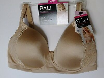 16c1d2eb45fd1 BALI ONE SMOOTH U Embroidered Frame Bra Style 3443 Size 38D Walnut ...