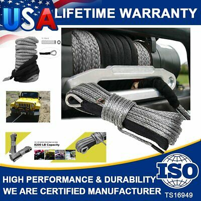 """1/4""""X 50' Synthetic Winch Rope Line Grey Recovery Cable 10000LBS ATV 4WD W/Guard"""