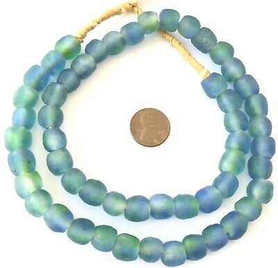 11mm Handmade Blue Green Multi Krobo recycled Glass African trade Beads-Ghana