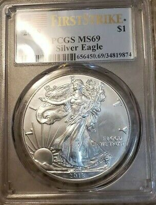 1 oz Silver American Eagle $1 Coin 2018 PCGS MS 69 First Strike (Flag Label)