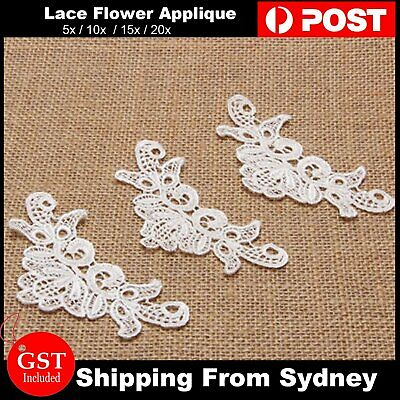 5-20x Lace Flower Applique Trims Ribbon Crochet Wedding Embroidered Sewing Craft