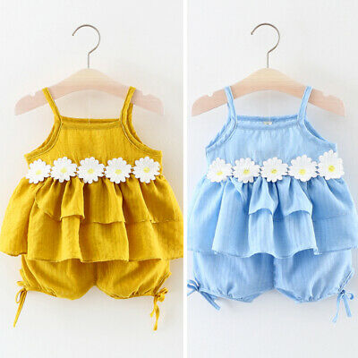 Infant Kids Summer Casual Kids Girls Strappy Floral Tops Shorts Outfits Clothes