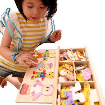 Wooden Baby Bear Changing Clothes Puzzle Set Kids Educational Toys Gift new
