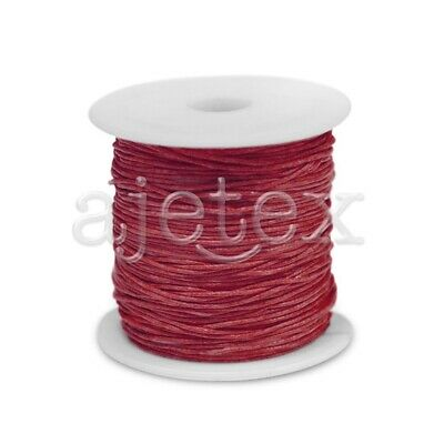 1 Roll 70M Waxed Cotton Cord Jewellery Craft Beading Thread Thong 0.8mm Red