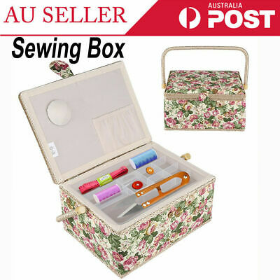 Rural Style Floral Printed Cloth Sewing Basket Storage Box Household Sundry Case