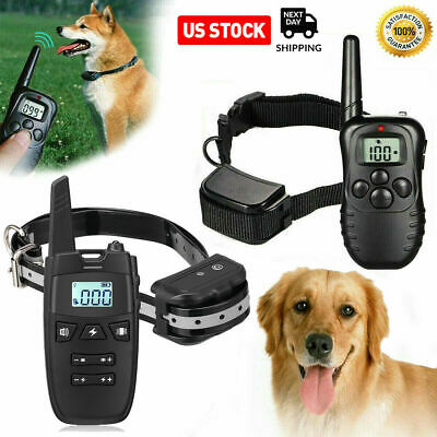 Rechargeable Dog Shock Training Collar LCD Remote Control Waterproof 330 Yards