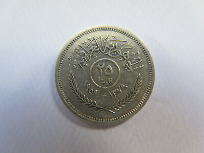 1959 IRAQ SILVER 25 FILS COIN in EXCELLENT COLLECTABLE CONDITION
