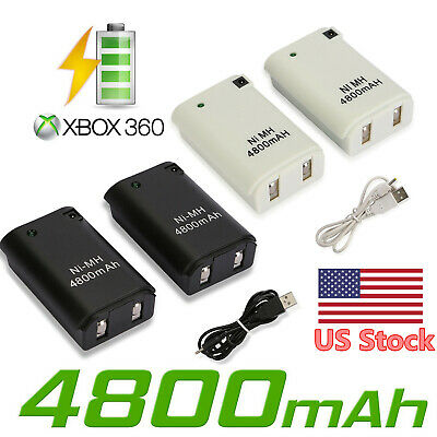 2X 4800mAh Rechargeable Battery Pack Case for XBOX 360 Controller Charger Cable