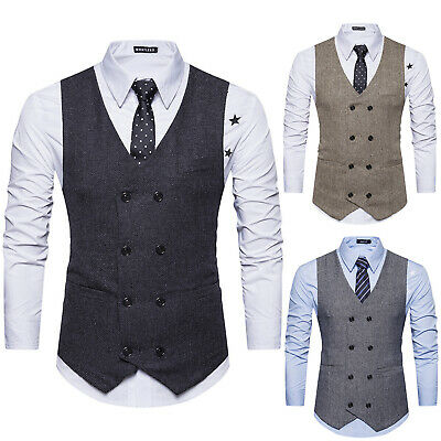 Mens Double Breasted Herringbone Tweed Peaky Blinders Vintage Formal Waistcoat