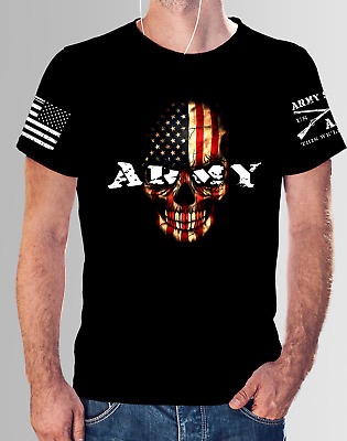 New Army American Flag Skull Replica Grunt Style Sleeve Army Style T SHirt