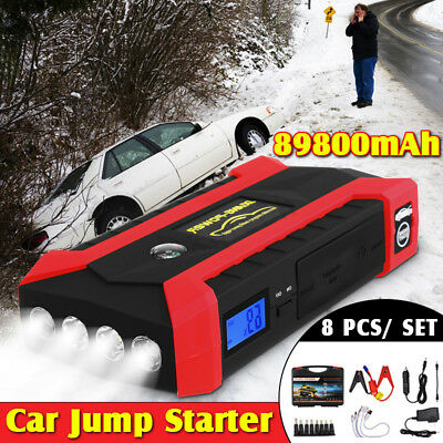 89800mAh 12V LCD 4 USB Car Jump Starter Pack Booster Charger Battery Power