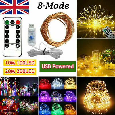 20M LED Mains USB Plug In String Fairy Lights 8Function Garden Xmas Tree Outdoor