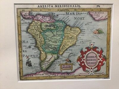 America Meridionalis vintage map Museum quality Framed map is 7 1/2 x 6 inches