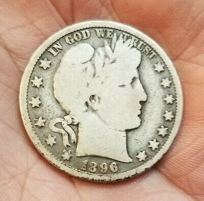 1896-O BARBER SILVER HALF DOLLAR - GOOD CONDITION - BETTER DATE - Free Shipping