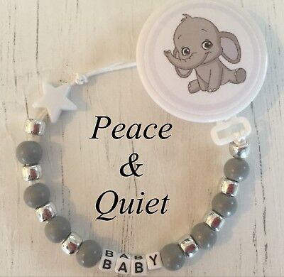 Personalised Wooden Dummy Clip🐘baby elephant🐘Chain💎Silver💎Cute💎grey #BWP