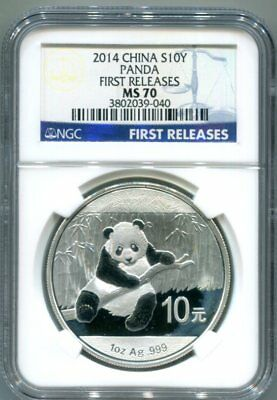 NGC-MS70 1914 CHINA 1-OZ Silver PANDA 10-Yuan Coin FIRST RELEASES Label