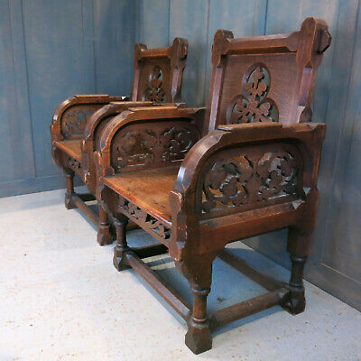 Stunning Antique Carved Fretwork Oak Ministers Throne Chairs