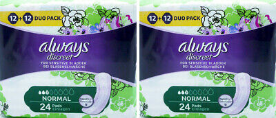 Always Discreet Sensitive Bladder Incontinence Pads Normal Odour Lock - 48 Pack