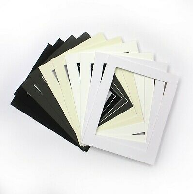 Packs of 10* Assortment of Black Grey White Ivory Off White Picture Photo Mounts