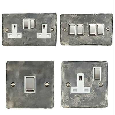 Rustic Silver Flat Plate FR2 Plug Sockets, Light Switches, Dimmers, Cooker, Fuse