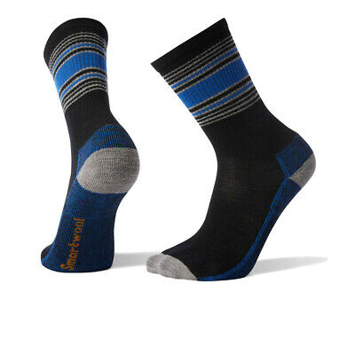 Smartwool Hombre Hike A Rayas Claro Crew Calcetines Negro Azul Gris