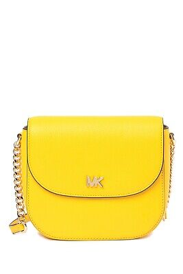 52af3e2b5a08 Michael Kors Half Dome Pebbled Leather Small Crossbody Bag In Sunflower