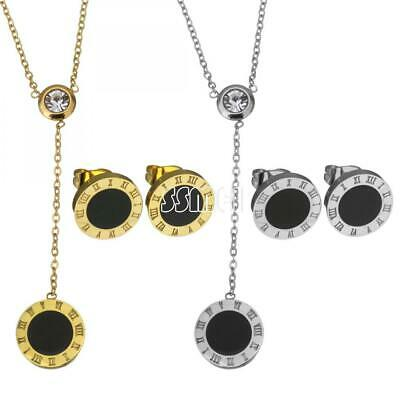 Fashion Women Stainless Steel Black Flat Round Jewelry Set Earring Necklace Gift
