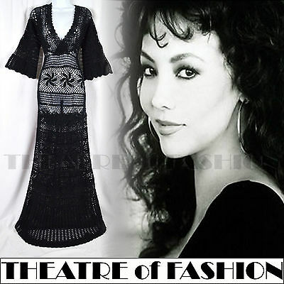 DRESS CROCHET LACE VINTAGE WEDDING 30s BOHO 70s 60s S M UK 8 10 12 14 16 MONSOON