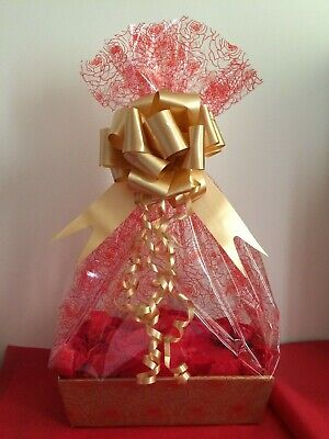 "CHRISTMAS DIY Hamper Kit 11/"" GOLD TRAY-RED ROSE  CELLO BOW TISSUE TAG  BIRTHDAY"