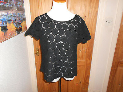 MOMENT ITALY womens tiered Broderie Anglaise ditsy print tunic top SIZE 12-14