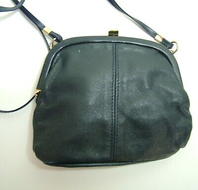 Vintage 70s 80s dark blue leather shoulder clasp cross-body bag f546ae80e15