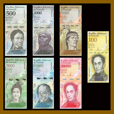 Venezuela 500 - 100000 (100,000) Bolivares (7 Pieces Pcs Set), USED 2016-2017