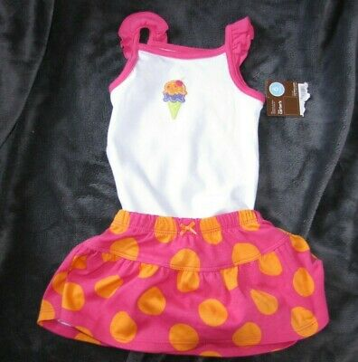 Carters Summer Ruffle Tank Bodysuit Pink Orange Dot Skirt Outfit Set Baby 3-6