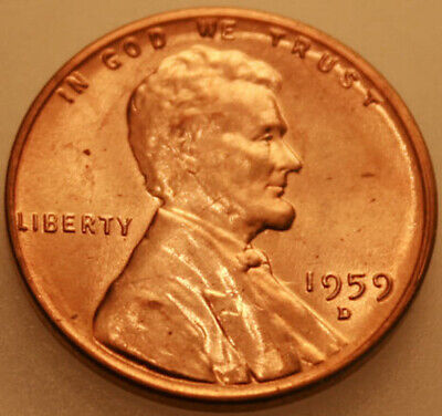 1959-D Lincoln Memorial Cent Uncirculated BU Red Penny