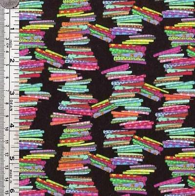 Fat Quarter - Fabric Piles On Black - Sewing Theme Quilting Fabric