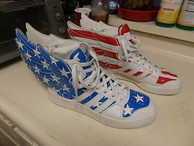 sports shoes 646f1 840dd Adidas Jeremy Scott Wings 2.0 US FLAG Stars and Stripes sneakers JS shoes  V24619