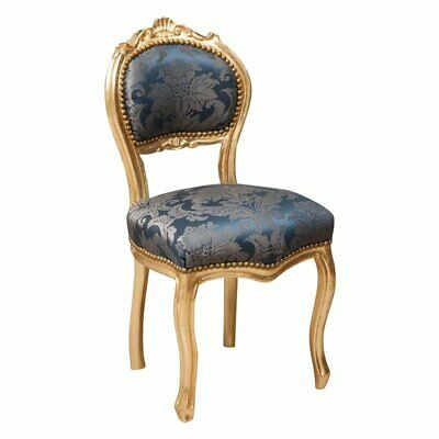Louis XVI French style armchair in solid beech wood ORO/BLU