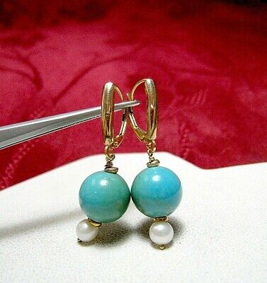 46aac6f49 Zb 14K Yellow Gold Drop Down Dangling Turquoise Pearl Bead Earrings 3.7  Grams