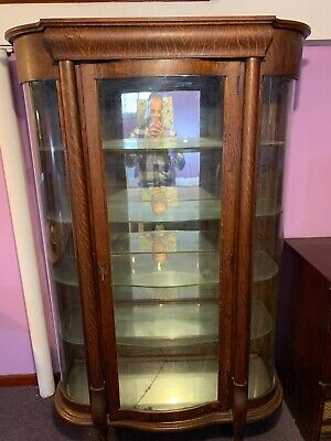 Antique Oak Curved Glass Curio Display Cabinet Case Vintage Victorian Wood  Hutch