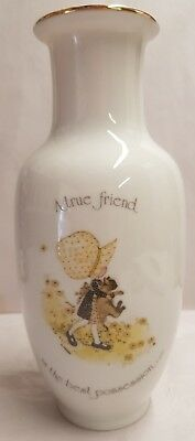 Vintage Holly Hobbie A True Friend is the Best Possession Vase c1974 20cm Tall