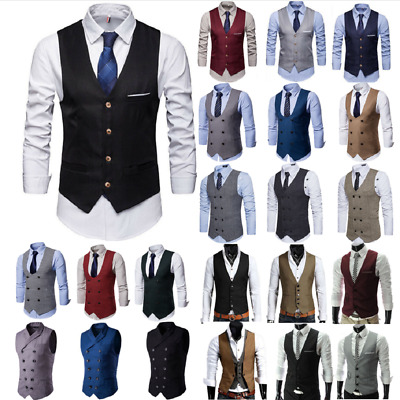 Men Double Breasted Herringbone Tweed Peaky Blinders Vintage Formal Waistcoat UK