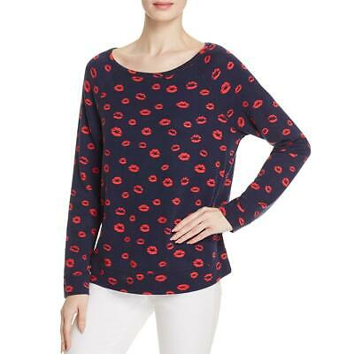 115e0df476ac90 Soft Joie Womens Annora B Navy Jersey Printed Pullover Sweater Top M BHFO  8271